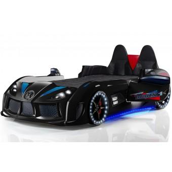 Chargedspeed Bilseng med Læder, LED-Lys og Lydpakke, sort