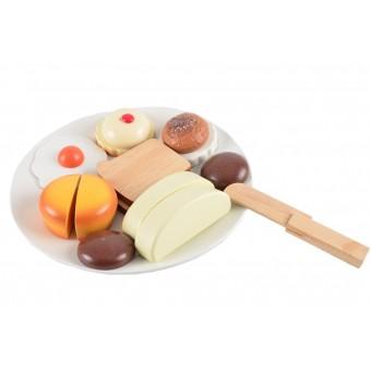 Brød i træ m. velcro på tallerken