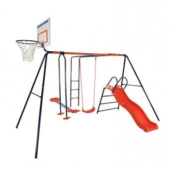 gyngestativ med basketball net til basket ball glade børn