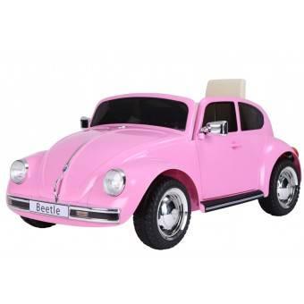 VW Beetle elbil til børn 12v m/Gummihjul + 2.4G + Lædersæde, Pink