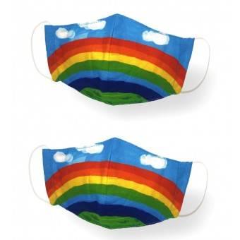KANGURU Stof Mundbind til børn 2-5 år, Rainbow (2 stk.)