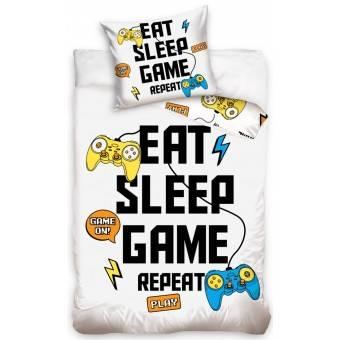 Eat, Sleep, Game, Repeat Gamer Sengetøj - 100 procent bomuld