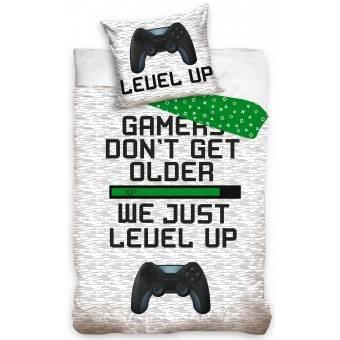 Gamer Sengetøj 'Level up' - 100 procent bomuld