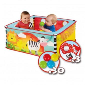 Zebra Boldebad med 30 bolde og 3 stk. legetøj
