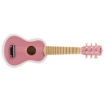 Guitar til børn m. 6 strenge - Rosa / Hvid