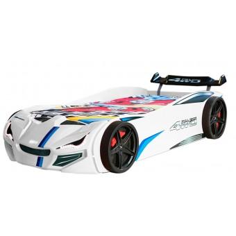 Speedy 4WD Bilseng med LED-Lys og Lydpakke, Hvid
