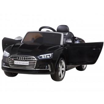 Audi S5 Cabriolet Sort Elbil til Børn 12V m/2.4G fjernbetjening, Gummihjul