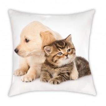 Hundehvalp og kattekilling Pude
