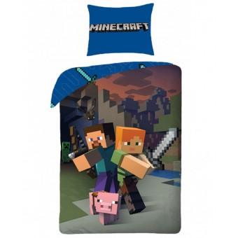 Minecraft 2i1 Sengetøj - 100 Procent Bomuld