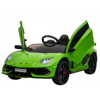 Lamborghini Aventador SVJ elbil til børn m/Gummihjul + 2.4G GRØN