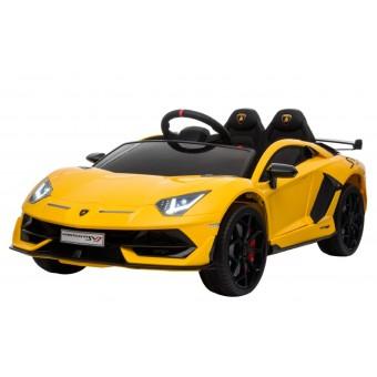 Lamborghini Aventador SVJ elbil til børn m/Gummihjul + 2.4G GUL