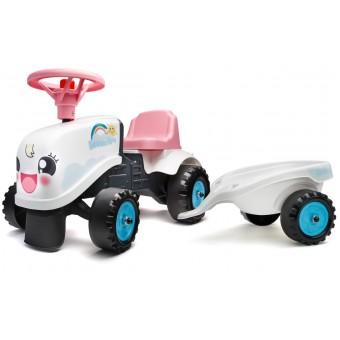 Falk Gå-Traktor + Trailer 2i1 designs 1-3 år, Hvid