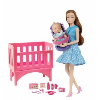 Kari Michell Babysitter dukke med baby og tremmeseng