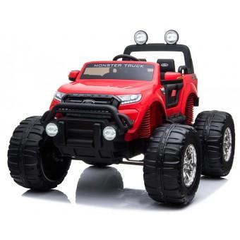 Ford Ranger Monster Truck 4x4 12v Rød m/4x12V + Gummihjul + 2.4G