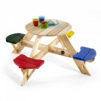 Plum Træ Børne Havebord med farvet sæder