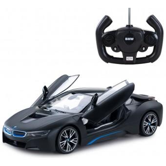 BMW i8 Fjernstyret Bil 1:14 Sort (Kan åbne dørene via remote)