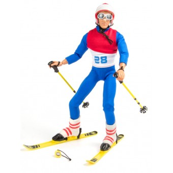 Action Figur som står på ski med tilbehør 30,5cm