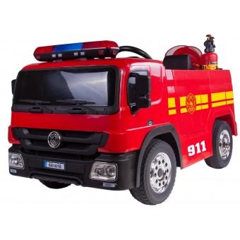 Brandbil Elbil til Børn 12V m/2.4G Remote, Gummihjul, tilbehør m.v.