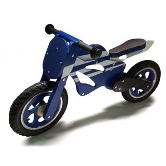 Løbe Motorcykel i træ med rigtige lufthjul, Blå