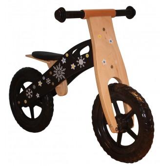 Træ Sort Løbecykel med rigtige hjul med luft