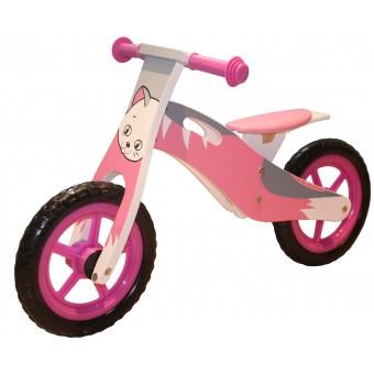 Løbecykel Kat i træ med rigtige lufthjul