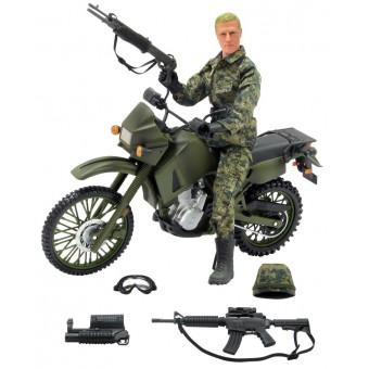 Kawasaki KLR 650 Militær Motorcykel 1:6 med Action Figur 30,5cm