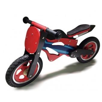Løbe Motorcykel i træ med rigtige lufthjul, Rød