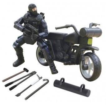 S.W.A.T. Action Figur og Motorcykel 1:18