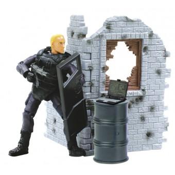 S.W.A.T. Politibetjent Action Figur med væg Type A 1:18