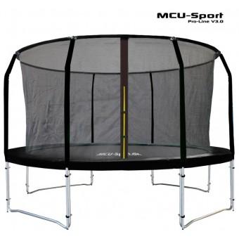 MCU-Sport Pro-line 3,7m Sort Trampolin V3.0 + Pro sikkerhedsnet