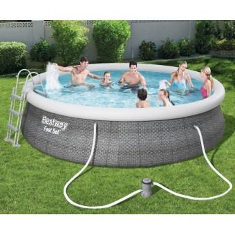 Bestway Fast Set Pool Rattan Sæt 457 x 107 cm m/pumpe, stige m.v.