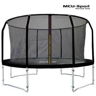 MCU-Sport Pro-line 4,3m Sort Trampolin V3.0 + Pro sikkerhedsnet