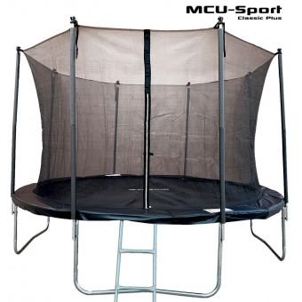 MCU-Sport Classic Plus 3,7M Trampolin + Sikkerhedsnet + Stige Sort