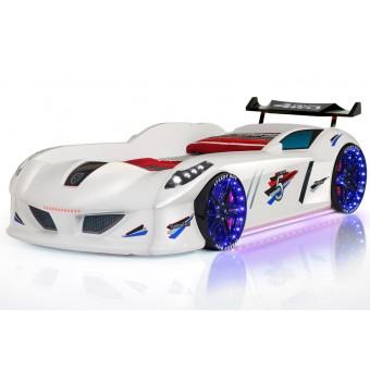 Speedy Turbo Tech Bilseng med LED-Lys og Lydpakke, Hvid