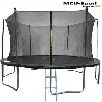 MCU-Sport Classic Plus V2 Trampolin + Sikkerhedsnet + Stige 4,3M Sort