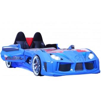 Chargedspeed Bilseng med Læder, LED-Lys og Lydpakke, Blå