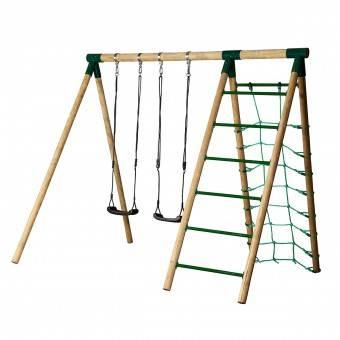 Hörby Bruk Træ Active Højt Gyngestativ med klatrenet